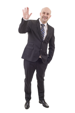 happy handsome businessman full length, isolated on white