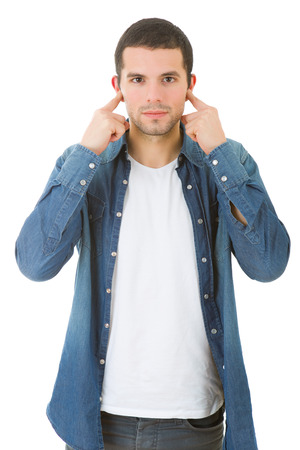 handsome young man covering his ears, isolated white background Stock Photo
