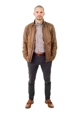 young casual man full body in a white background Banque d'images