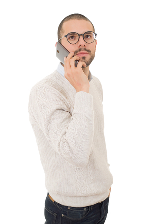young casual man worried on the phone, isolated