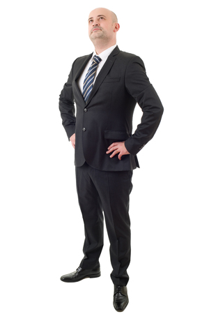 businessman thinking, full body, isolated on white background