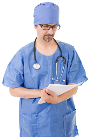 male doctor thinking with his notes, isolated over white background Stock Photo
