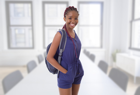 young happy african girl student at school Stock Photo
