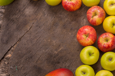 fruits on a old wooden table, studio picture, with copy space. Free space for text Stock Photo