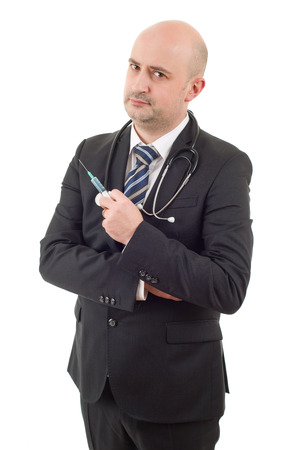 happy male doctor with a syringe, isolated on white background Stock Photo