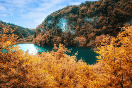 view in the Plitvice Lakes National Park, Croatia. Digitaly altered