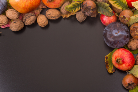 autumn still life, copy space, dark background, autumn composition from top. Free space for text Stock Photo