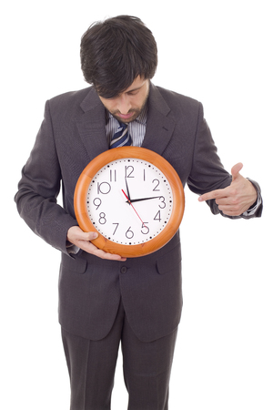 businessman with clock isolated over a white background