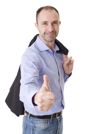 happy casual man going thumbs up, isolated on white background Stock Photo