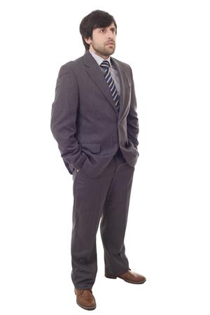 Businessman thinking, full body, isolated on white background