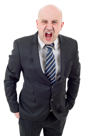 businessman yelling isolated on a white studio background.