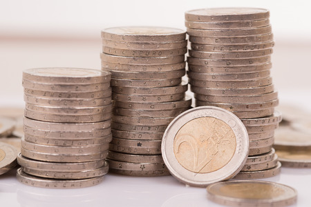 large amount of two Euro money coins. Stock Photo
