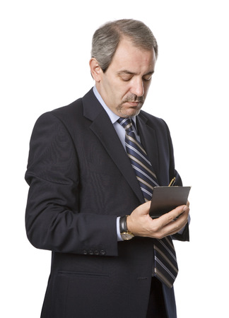 pensive mature business man, isolated on white Stock Photo