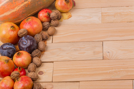 autumn still life, copy space, wooden background, autumn composition from top. Free space for text