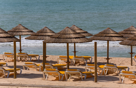 the famous beach of Praia do Alvor, Algarve region, Portugal Stock Photo