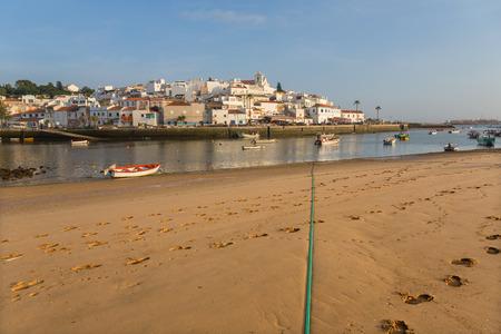 Picturesque view of Ferragudo fishing village in Algarve, Portugal