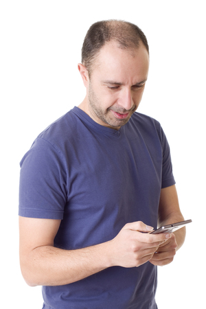 young casual man on the phone, isolated