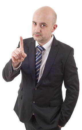 mad business man pointing, isolated on white Stock Photo