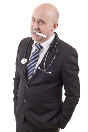 silly male doctor, isolated on white background