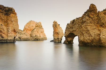 long exposure at the ocean, Ponta da Piedade in algarve, Portugal