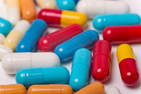 different Tablets pills capsule heap mix therapy drugs Stock Photo