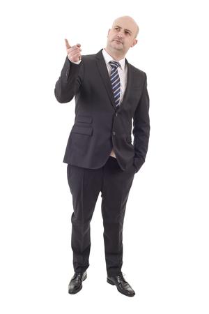 businessman full body pointing isolated on white background Stock Photo