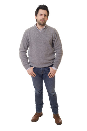 casual man full body in a white background Stock Photo