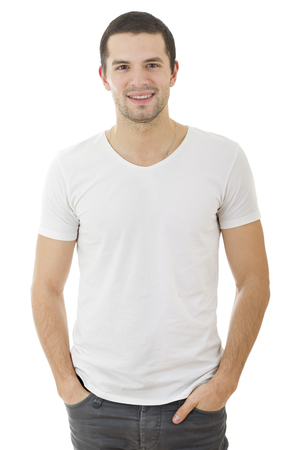 young happy casual man portrait, isolated on white Stock Photo