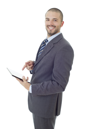 happy businessman working with a tablet pc, isolated
