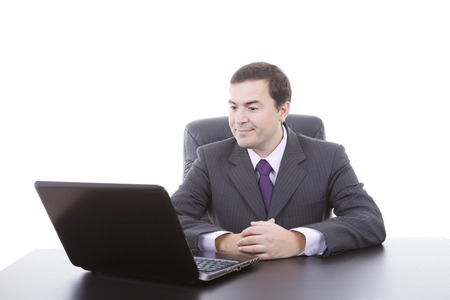 business man working with is laptop, isolated on white