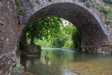 Town of Potes bridge, in peaks of Europe, Cantabria, Spain.
