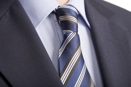 Business Power, Detail close up, jacket men's, shirt with a blue tie