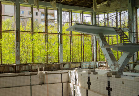 Chernobyl zone. Swimming pool in the city of Pripyat in Ukraine. Exclusion Zone.
