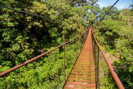 old hanging bridge in the jungle of Panama