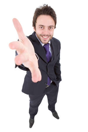 happy young businessman full length, isolated on white