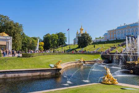 SAINT-PETERSBURG, RUSSIA: Peterhof, St. Petersburg, king's palace and grand-fountain. Russia
