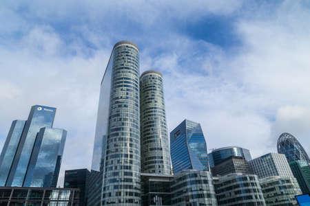 PARIS, FRANCE: Modern office buildings of the Business Center Tour, in La Defense business district, Paris, France 에디토리얼