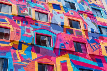 San Jose, Costa Rica: Detail of a colorful Building Exterior. San Jose, Costa Rica