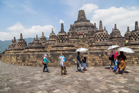 Ancient Buddhist temple of Borobudur, in Magelang, Central Java, Indonesia