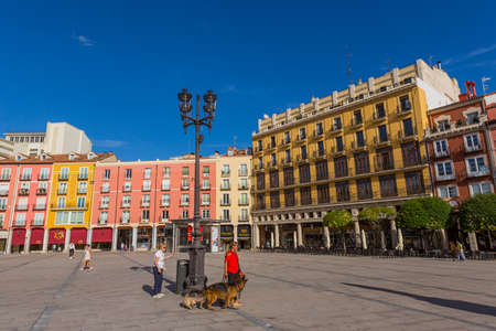 Burgos, Spain: View at the Burgos Plaza Mayor. Burgos is a city in northern Spain and the historic capital of Castile. 에디토리얼