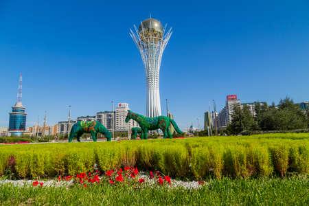 Nur-Sultan, Kazakhstan - View of Baiterek Tower with its golden sphere in Nur-Sultan (Astana)