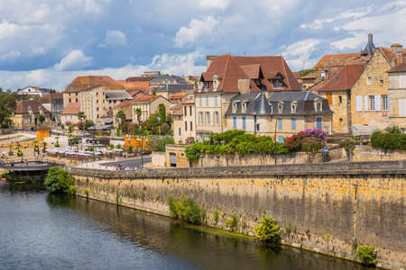 BERGERAC, FRANCE: Dordogne Riverfront in Bergerac. The town has an important tourist industry.