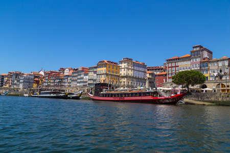 PORTO, PORTUGAL: the famous houses of the Ribeira in the Douro River bank near the Dom Luis I Bridge, Porto, Portugal.