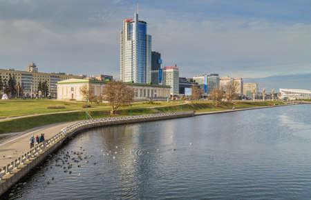 Minsk, Belarus: Landscape in the city of Minsk. Nemiga Trinity Suburb. Belarus 에디토리얼