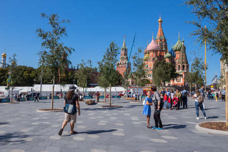 St Basil`s Cathedral on Red Square in Moscow, Russia. St Basil`s temple is one of top tourist attractions of Moscow 에디토리얼