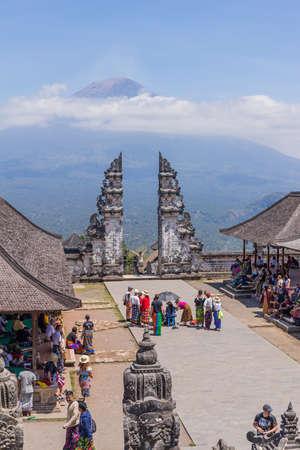 BALI, INDONESIA: People at the temple of Pura Penataran Agung Lempuyang. In Bali, Indonesia