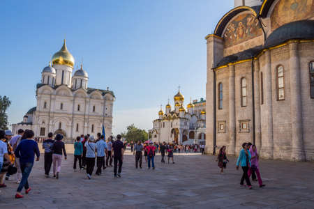 MOSCOW, RUSSIA: People visiting the Assumption Cathedral of the Moscow Kremlin. Russia