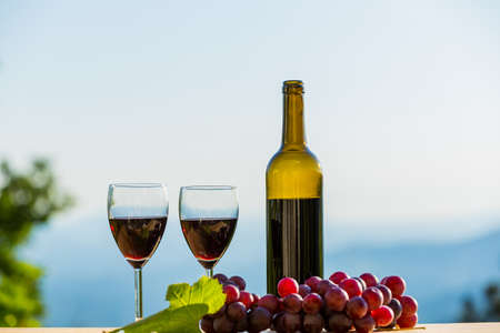 wine bottle, grapes, cheese and bread, on wooden table, outdoor
