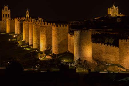 Avila walls at night, Castile and Leon, Spain
