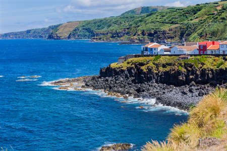 View of Maia coasts on San Miguel island, Azores, Portugal.